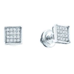 0.10 CTW Diamond Square Cluster Earrings 14KT White Gold - REF-12N2F