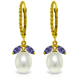 Genuine 9 ctw Tanzanite & Pearl Earrings Jewelry 14KT Yellow Gold - REF-47H3X