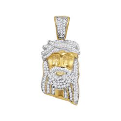 0.40 CTW Mens Diamond Jesus Head Pendant 10KT Yellow Gold - REF-34F4N