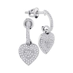0.33 CTW Diamond Heart Love Dangle Earrings 10KT White Gold - REF-34Y4X