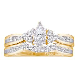 0.50 CTW Marquise Diamond Bridal Engagement Ring 14KT Yellow Gold - REF-59Y9X