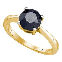 2.05 CTW Black Color Diamond Solitaire Bridal Ring 10KT Yellow Gold - REF-40F4N