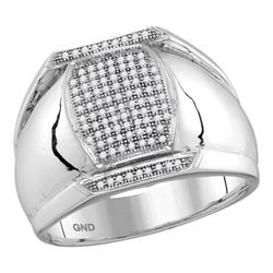 0.33 CTW Mens Pave-set Diamond Vertical Rectangle Cluster Ring 10KT White Gold - REF-38Y9X