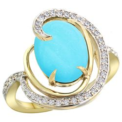 Natural 6.53 ctw turquoise & Diamond Engagement Ring 14K Yellow Gold - REF-90W5K