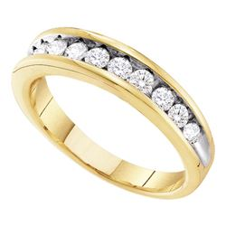 0.50 CTW Channel-Set Diamond 2-Tone Anniversary Ring 10KT Yellow Gold - REF-32F9N