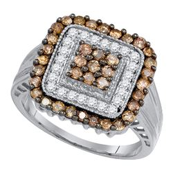 1 CTW Cognac-brown Color Diamond Square Cluster Ring 10KT White Gold - REF-52K4W