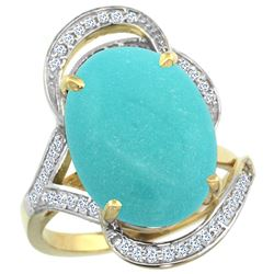 Natural 11.23 ctw turquoise & Diamond Engagement Ring 14K Yellow Gold - REF-133V3F