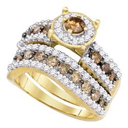 1.72 CTW Cognac-brown Color Diamond Bridal Ring 10KT Yellow Gold - REF-67W4K