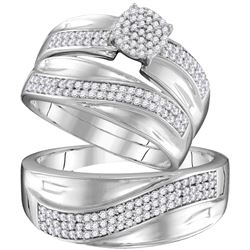 0.55 CTW His & Hers Diamond Cluster Matching Bridal Ring 10KT White Gold - REF-59W9K