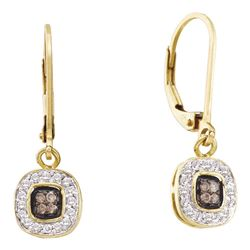 0.24 CTW Cognac-brown Color Diamond Dangle Earrings 14KT Yellow Gold - REF-30N2F