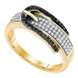 0.25 CTW Black Color Diamond Belt Buckle Ring 10KT Yellow Gold - REF-34K4W