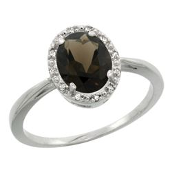 Natural 1.22 ctw Smoky-topaz & Diamond Engagement Ring 14K White Gold - REF-27Y2X
