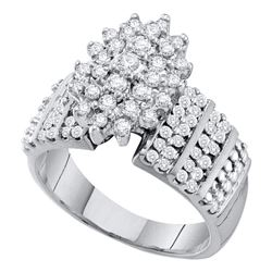 1 CTW Prong-set Diamond Oval Cluster Accented-side Ring 10KT White Gold - REF-67H4M