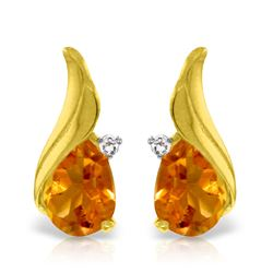 Genuine 3.26 ctw Citrine & Diamond Earrings Jewelry 14KT Yellow Gold - REF-52F7Z