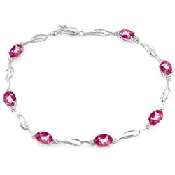 Genuine 3.39 ctw Pink Topaz & Diamond Bracelet Jewelry 14KT White Gold - REF-82N5R