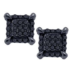 0.07 CTW Mens Black Color Diamond Square Cluster Earrings 10KT White Gold - REF-9N8F