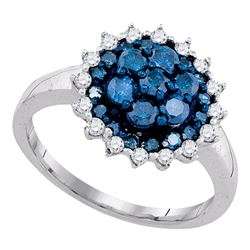 1.06 CTW Blue Color Diamond Flower Cluster Ring 10KT White Gold - REF-47K9W