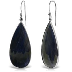 Genuine 42 ctw Sapphire Earrings Jewelry 14KT White Gold - REF-110H7X