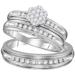 0.50 CTW His & Hers Diamond Cluster Matching Bridal Ring 10KT White Gold - REF-64W4K
