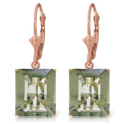 Genuine 13 ctw Green Amethyst Earrings Jewelry 14KT Rose Gold - REF-54Z2N