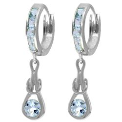 Genuine 2.15 ctw Aquamarine Earrings Jewelry 14KT White Gold - REF-80M4T