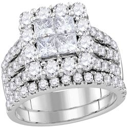 3 CTW Princess Diamond Cluster Bridal Engagement Ring 14KT White Gold - REF-285F2N