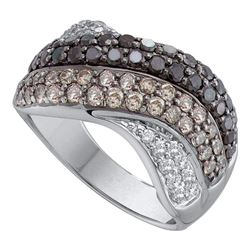 1.75 CTW Black Color Diamond Crossover Ring 14KT White Gold - REF-134K9W