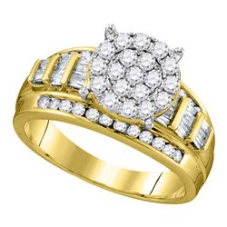 2 CTW Diamond Cluster Bridal Engagement Ring 10KT Yellow Gold - REF-134N9F