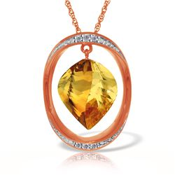 Genuine 11.85 ctw Citrine & Diamond Necklace Jewelry 14KT Rose Gold - REF-112M4T