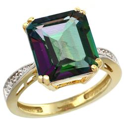 Natural 5.42 ctw Mystic-topaz & Diamond Engagement Ring 14K Yellow Gold - REF-61K9R