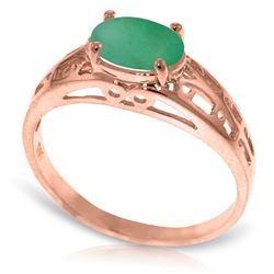 Genuine 1.15 ctw Emerald Ring Jewelry 14KT Rose Gold - REF-39F3Z