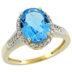 Natural 2.49 ctw Swiss-blue-topaz & Diamond Engagement Ring 14K Yellow Gold - REF-42Y2X
