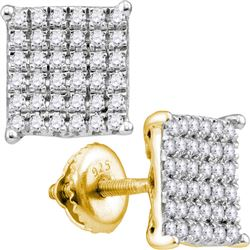 0.98 CTW Diamond Square Cluster Stud Earrings 10KT Yellow Gold - REF-67K4W
