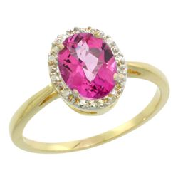 Natural 1.22 ctw Pink-topaz & Diamond Engagement Ring 14K Yellow Gold - REF-27G2M