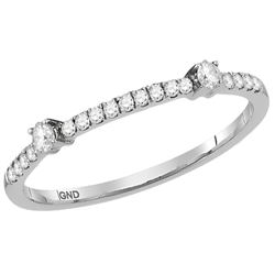 0.16 CTW Diamond Single Row Stackable Ring 10KT White Gold - REF-16W4K