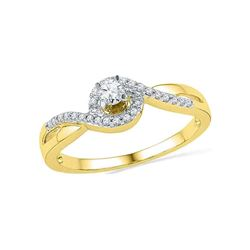 0.20 CTW Diamond Solitaire Swirl Promise Bridal Ring 10KT Yellow Gold - REF-20F9N