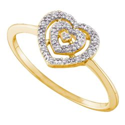0.04 CTW Diamond Heart Cluster Ring 10KT Yellow Gold - REF-7X4Y