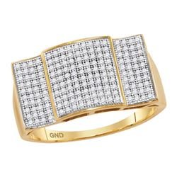 0.50 CTW Mens Pave-set Diamond Rectangle Convex Cluster Ring 10KT Yellow Gold - REF-59K9W