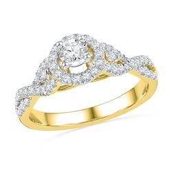 0.50 CTW Diamond Solitaire Bridal Engagement Ring 14KT Yellow Gold - REF-75Y2X