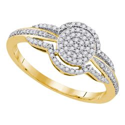 0.20 CTW Diamond Circle Cluster Bridal Engagement Ring 10KT Yellow Gold - REF-22F4N