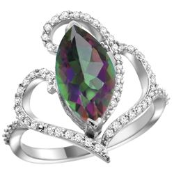 Natural 3.33 ctw Mystic-topaz & Diamond Engagement Ring 14K White Gold - REF-77N5G