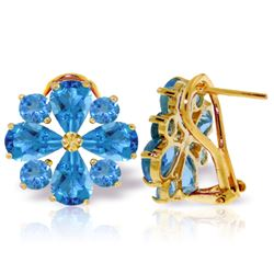 Genuine 4.85 ctw Blue Topaz Earrings Jewelry 14KT Yellow Gold - REF-58R4P