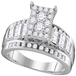 0.92 CTW Diamond Rectangle Cluster Bridal Engagement Ring 10KT White Gold - REF-68W9K