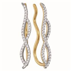 0.25 CTW Diamond Infinity Climber Earrings 10KT Yellow Gold - REF-22W4K