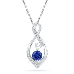 0.09 CTW Created Blue Sapphire Solitaire Diamond Pendant 10KT White Gold - REF-13W4K
