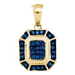 0.15 CTW Blue Color Diamond Rectangle Cluster Pendant 10KT Yellow Gold - REF-14N9F