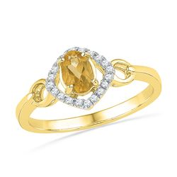 0.48 CTW Oval Created Citrine Solitaire Diamond Ring 10KT Yellow Gold - REF-14H9M
