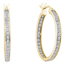 0.25 CTW Diamond In/Out Hoop Earrings 14KT Yellow Gold - REF-36F2N