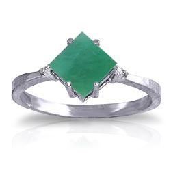Genuine 1.46 ctw Emerald & Diamond Ring Jewelry 14KT White Gold - REF-39M9T