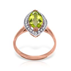 Genuine 2.15 ctw Peridot & Diamond Ring Jewelry 14KT Rose Gold - REF-71H3X